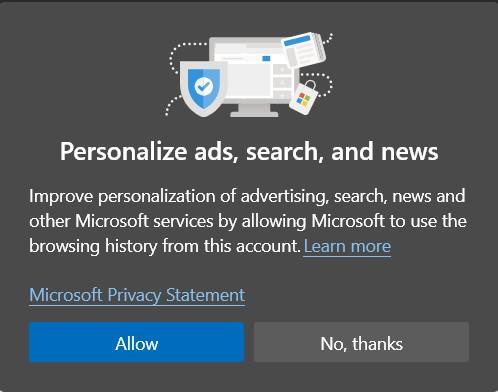 Permitir o bloquear anuncios personalizados en Microsoft Edge