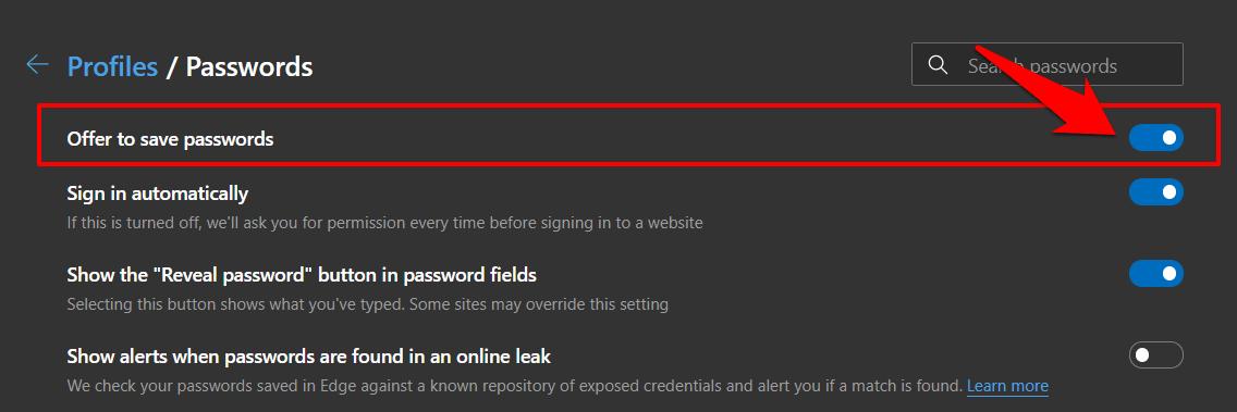 Ofrezca guardar contraseñas en el navegador de computadoras a bordo