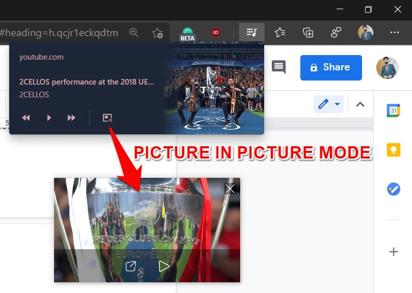 Función de imagen en la imagen en Microsoft Edge