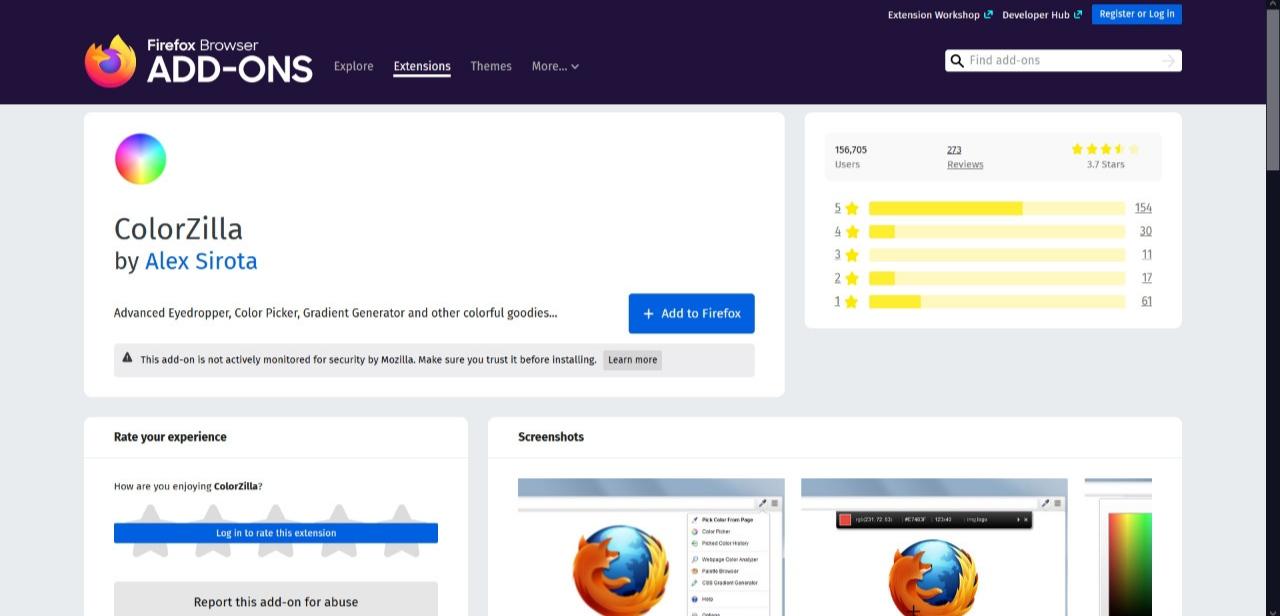 ColorZillla Color Picker como un módulo Firefox complementario