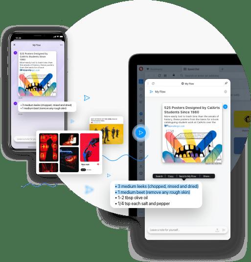 Sincronización cruzada entre dispositivos y My Flow en Opera Browser