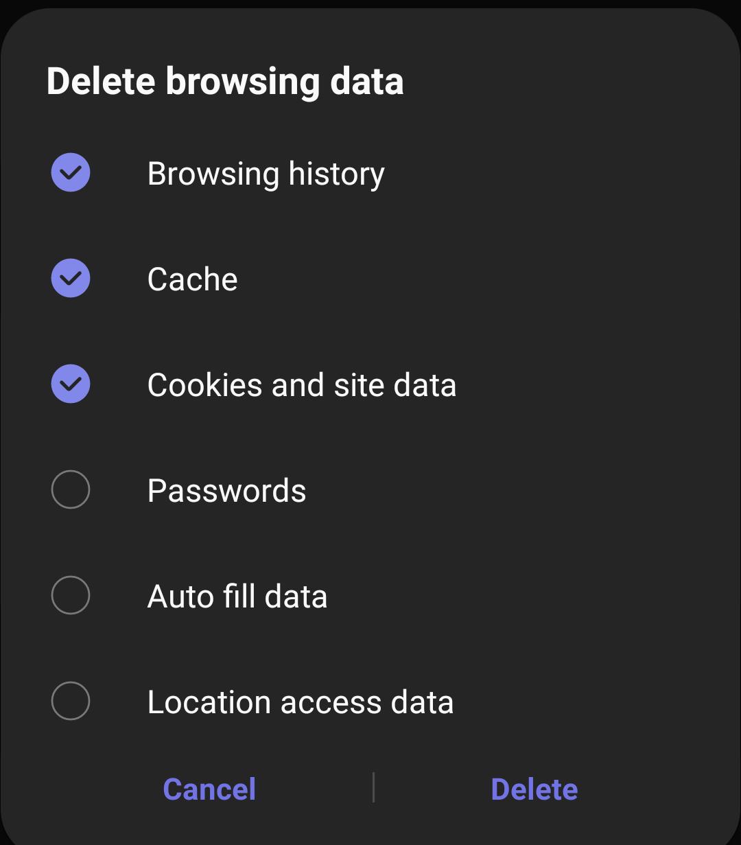 Eliminar datos del navegador: cookies de historial y caché de Internet de Samsung