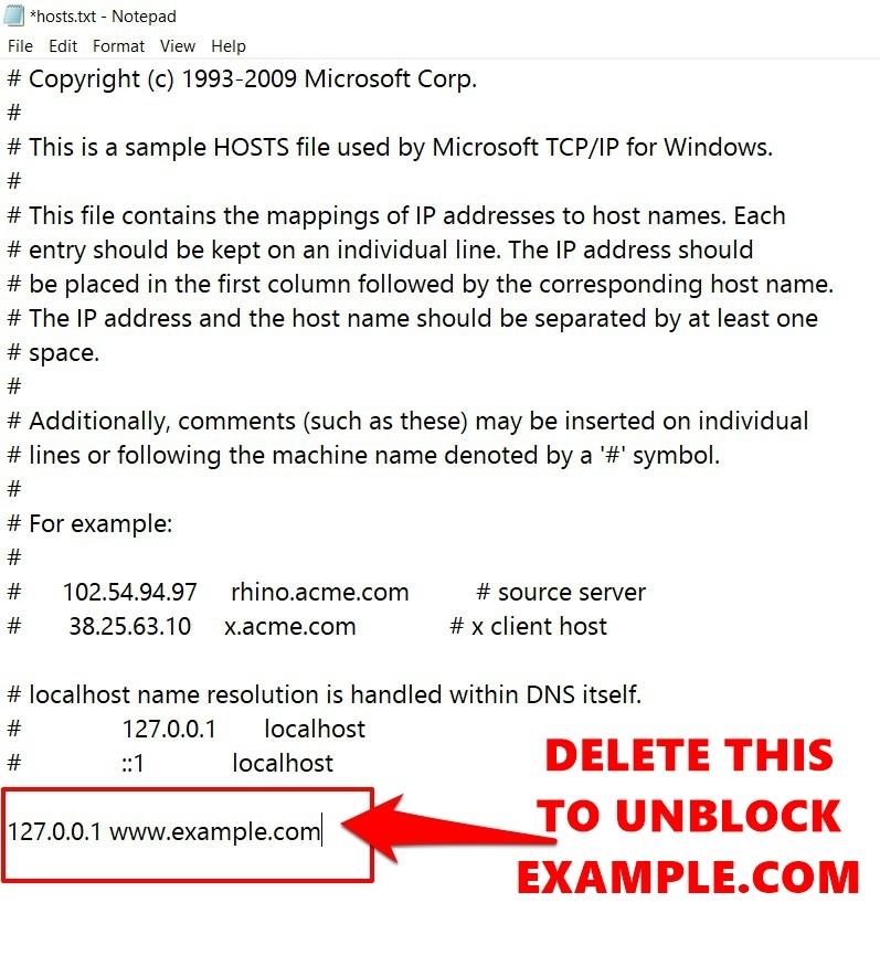 Eliminar la línea para desbloquear el sitio web del archivo Hosts