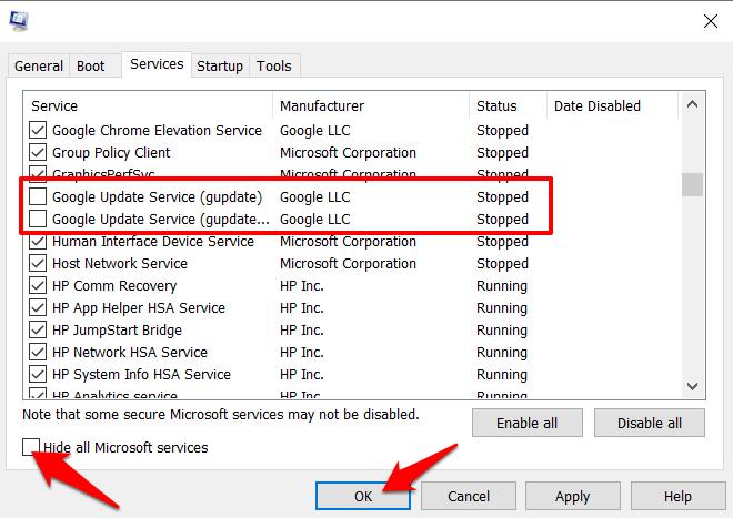 Desactive el servicio de actualización de Google desde la configuración de Microsoft
