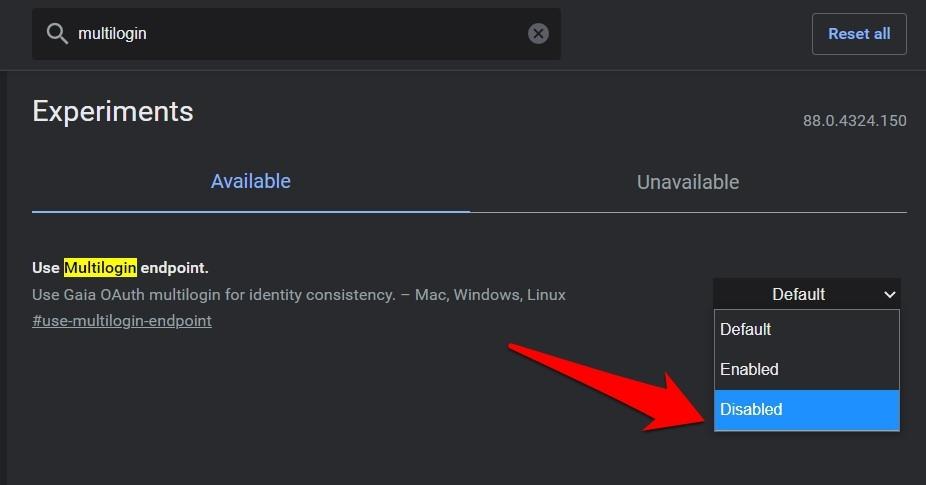 Deshabilite los indicadores de Chrome multilogín de Endpoint