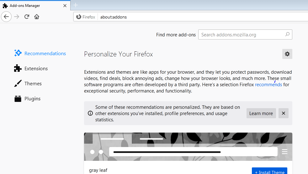 Firefox Add-ons Manager Windows