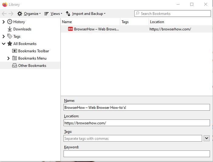 Ventana Firefox Bookmark Manager para importación y exportación