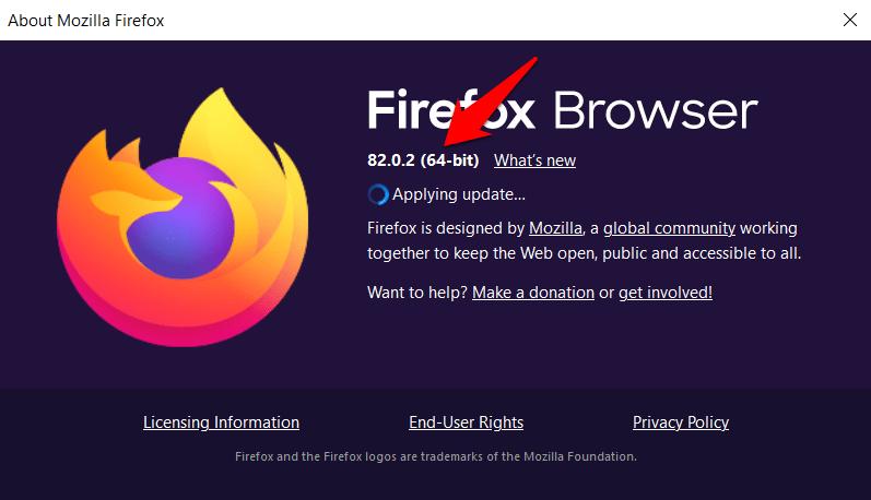 Versión y arquitectura del navegador Firefox