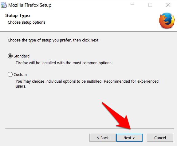 Firefox Setup Window Siguiente botón