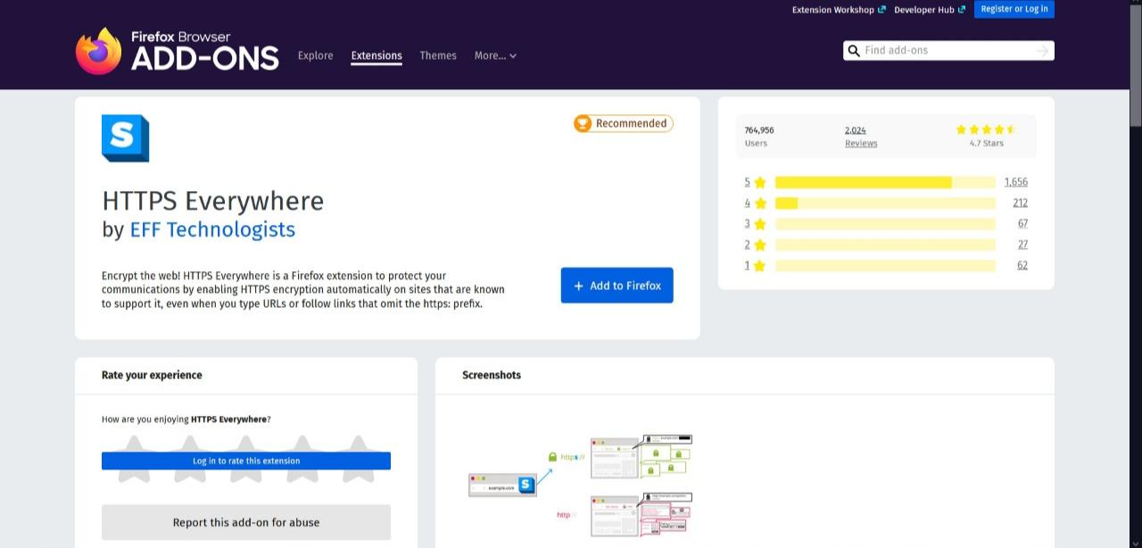 Módulo HTTPS Everywhere adicional para navegación segura en Firefox