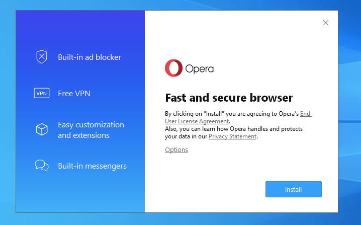 Instale Opera Browser en Windows