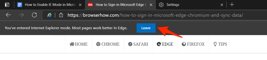 Deje que el modo de compatibilidad de Internet Explore en Edge