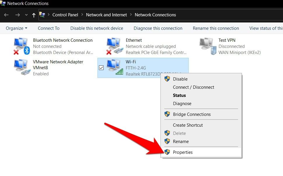 Conexiones de red WiFi o propiedades de módem de Internet