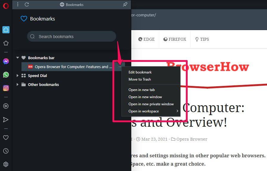 Marcadores del navegador Opera Editar o eliminar