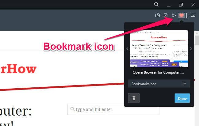 Opera Cree un marcador para el sitio