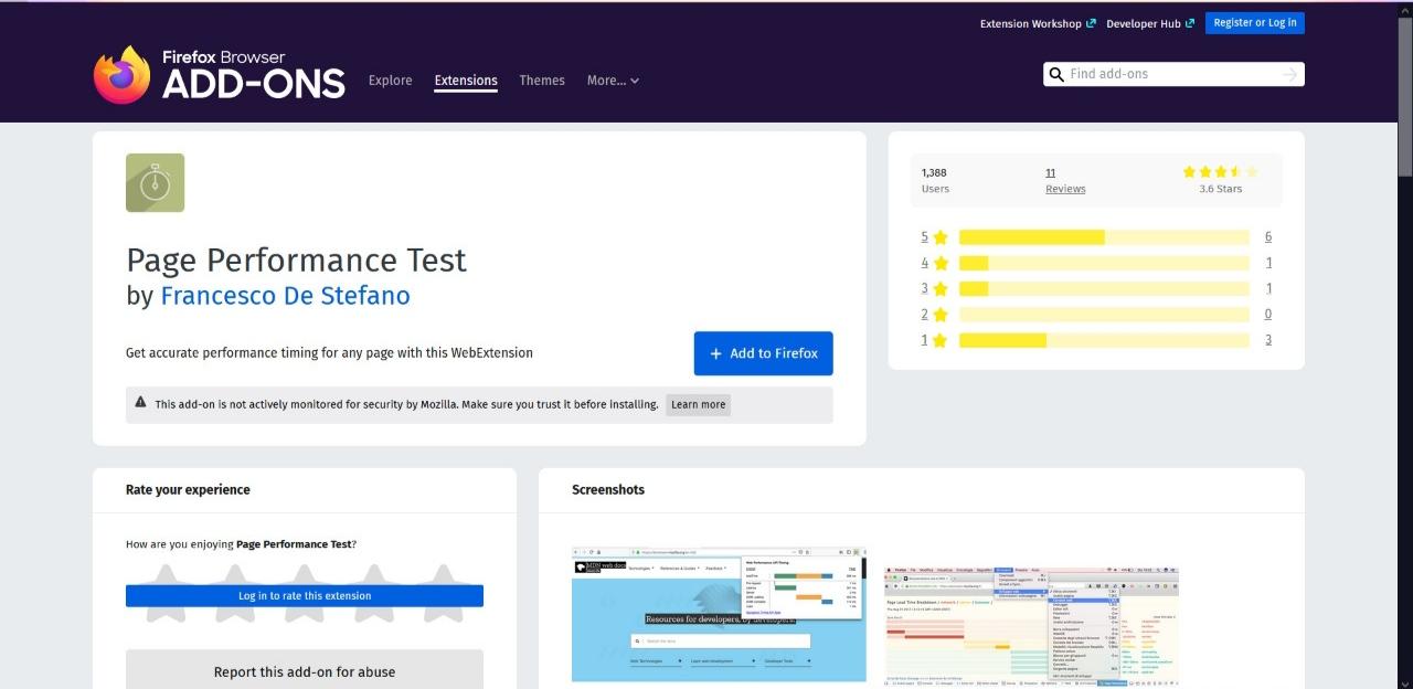 Prueba de rendimiento de página Módulo complementario del navegador Firefox
