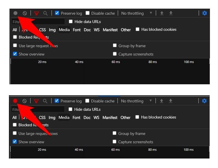 Grabación de la pestaña Red de Chrome para el archivo HAR