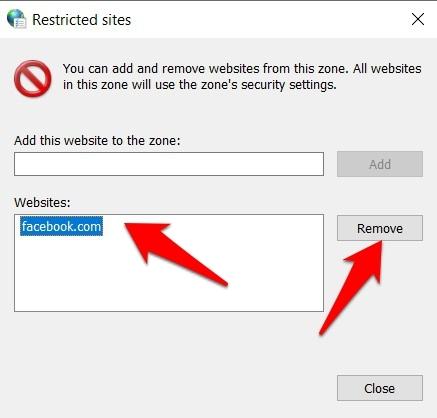 Elimine el sitio restringido de las opciones de Internet