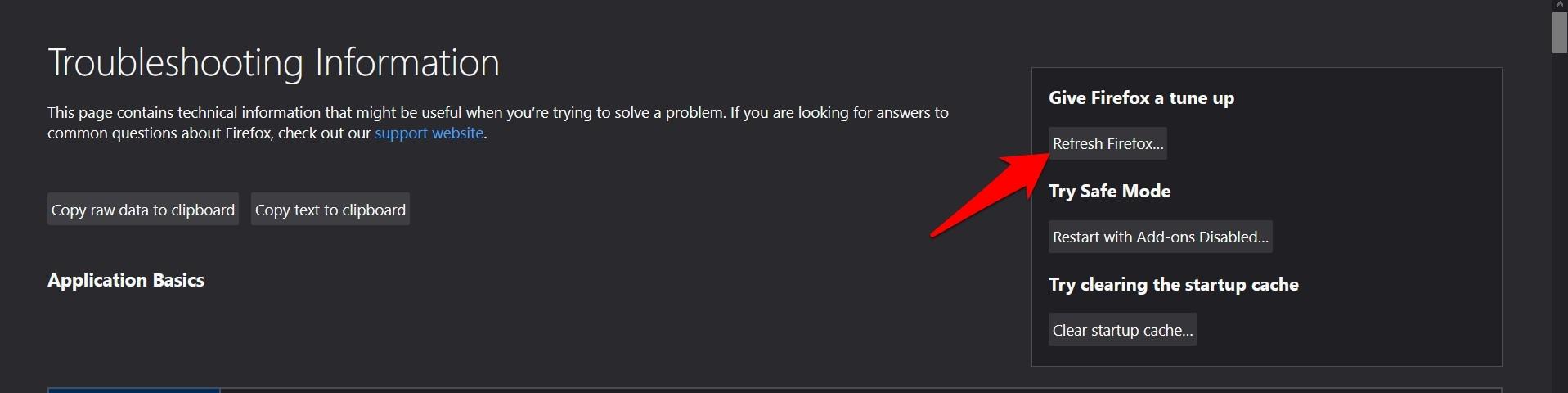 Restablecer y actualizar el navegador Firefox