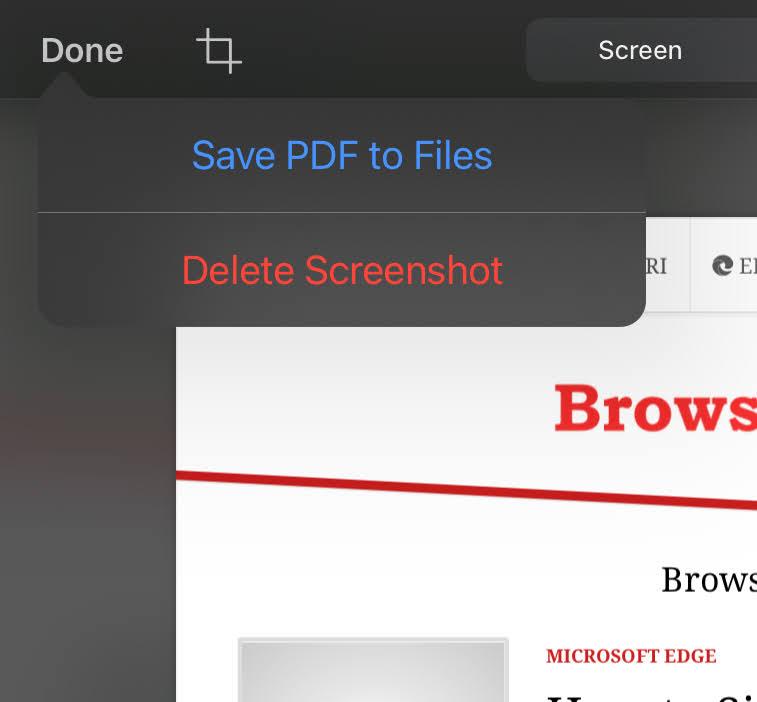 Guarde la opción PDF en los archivos del iPhone Markup and Editor