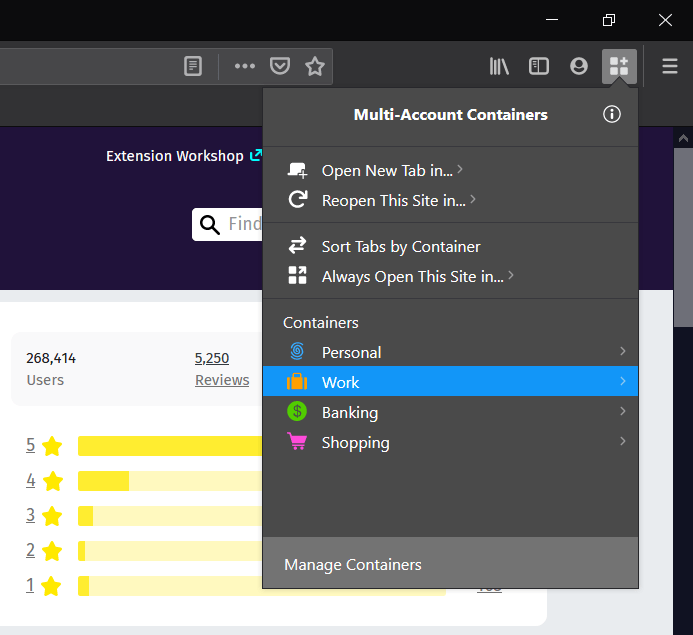 Seleccione los contenedores de Firefox para abrir en el navegador