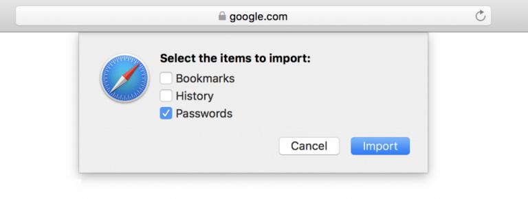 Seleccione los elementos para importar en el navegador Safari