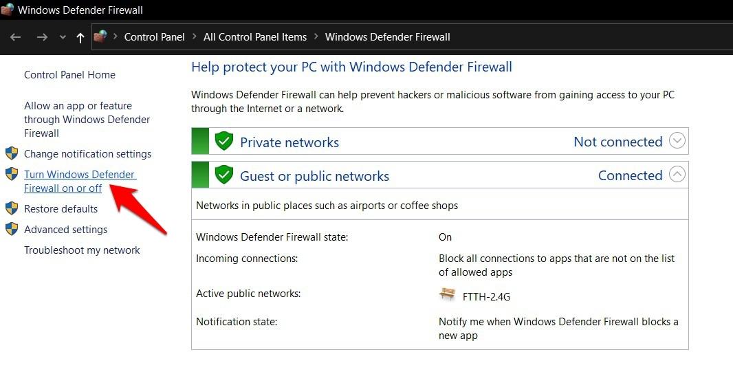 Active o desactive el firewall de Windows Defender en Windows
