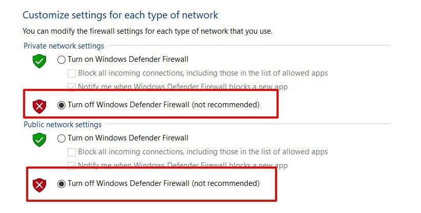Desactive el firewall del defensor de ventanas para el sector público y privado