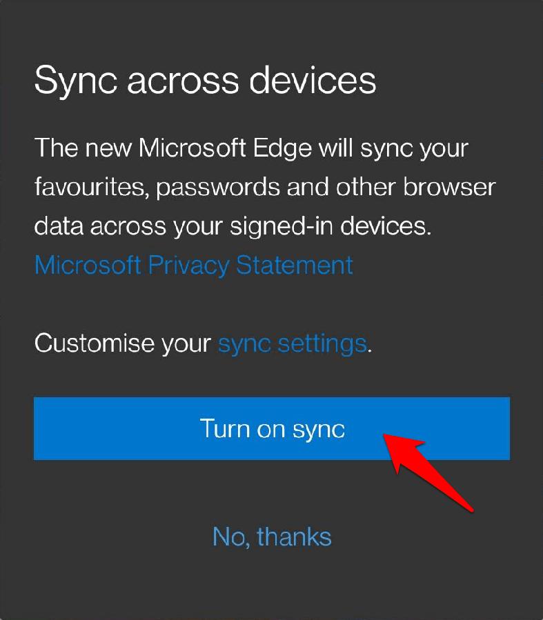 Active Sync en Microsoft Edge Chromium Android