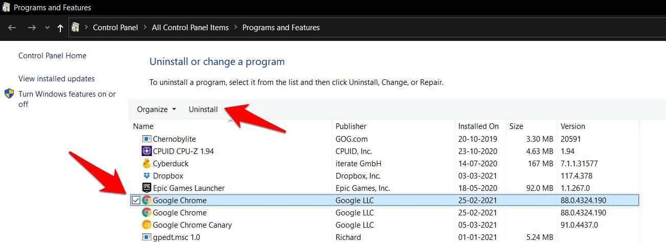 Desinstale Google Chrome del panel de configuración del sistema operativo Windows