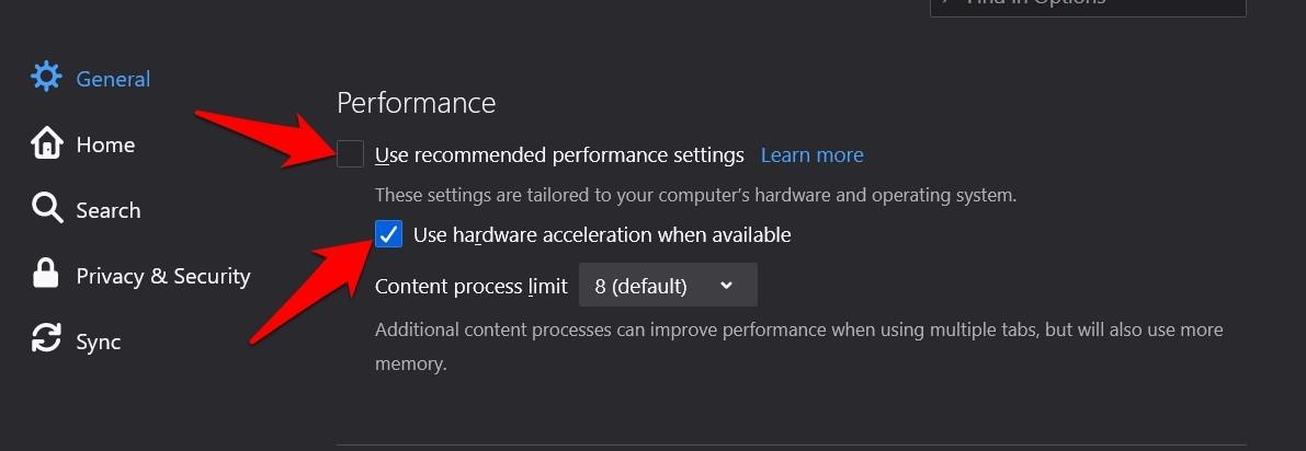 Use la aceleración de hardware cuando esté disponible en Firefox
