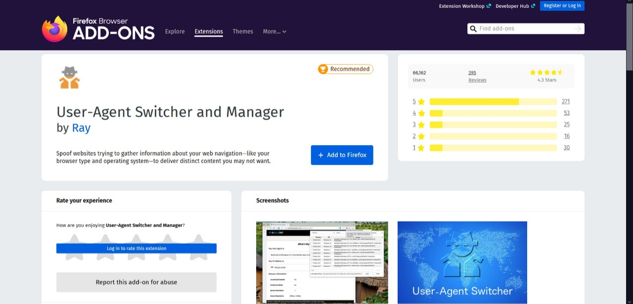 User Agent Switcher y Manager Firefox Add-on