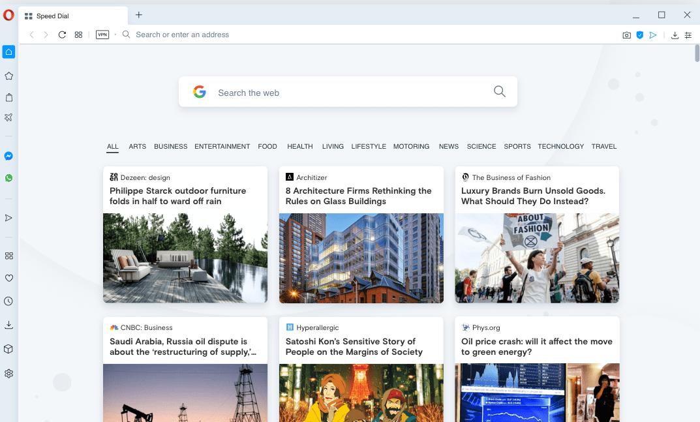 Resultados de la investigación y personalización en la pantalla de la página de inicio de Opera