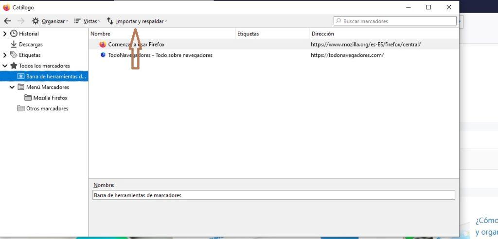 exportar marcadores en Firefox