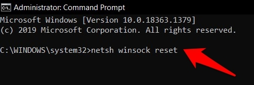 comando netsh winsock reset en el sistema operativo Windows