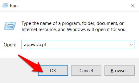 ejecutar appwiz.cpl para abrir el panel de control