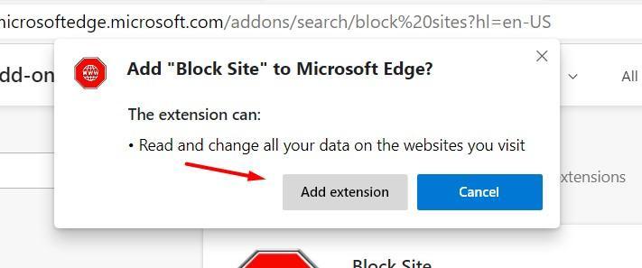 Añadir la extensión Block Site en Microsoft Edge