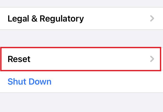 Configuración general Restablecer pestaña en iPhone