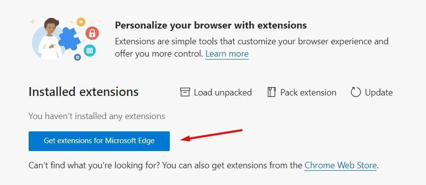 Obtener extensiones para Microsoft Edge