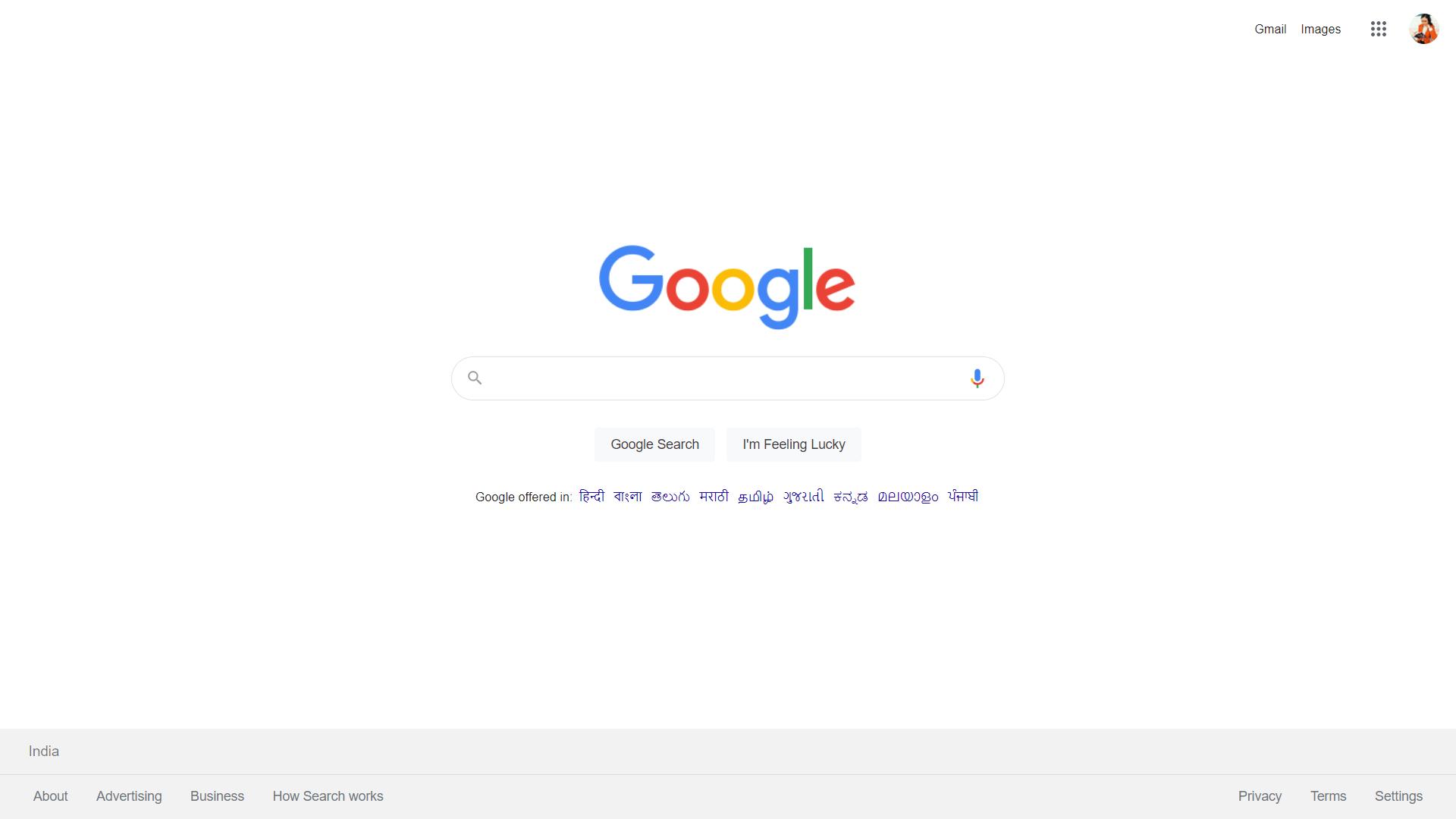 Modo de pantalla completa de Google Chrome activado