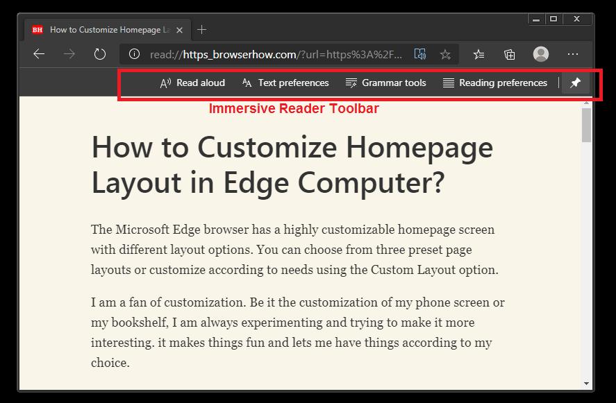 Barra de herramientas y opciones para lectores inmersivos en Microsoft Edge