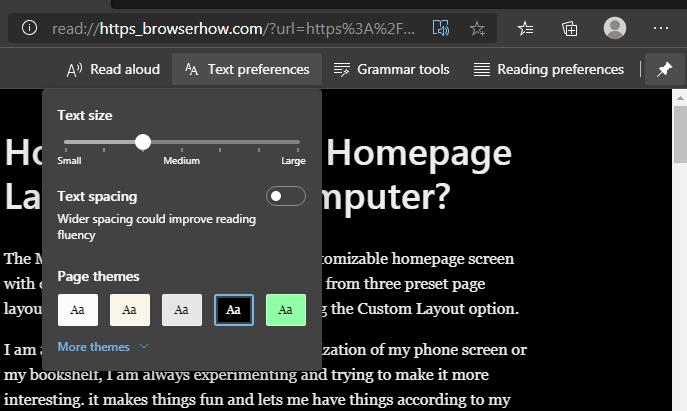 Configuración de texto Lector inmersivo de computadora Microsoft Edge