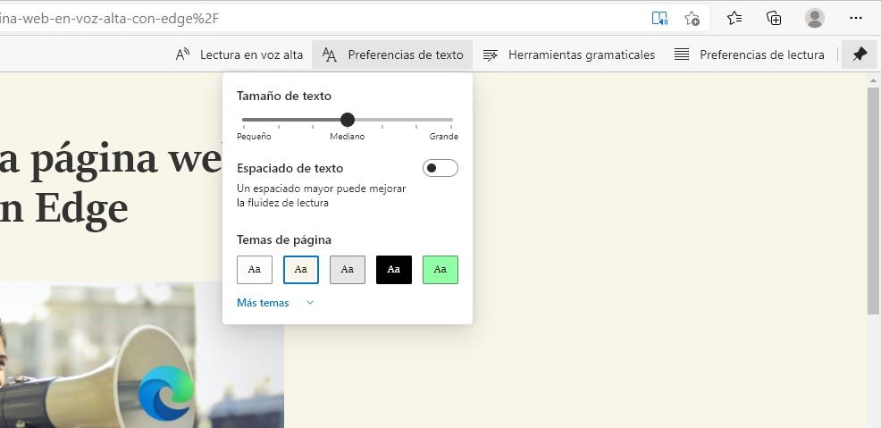 configuración lector inmersivo Edge