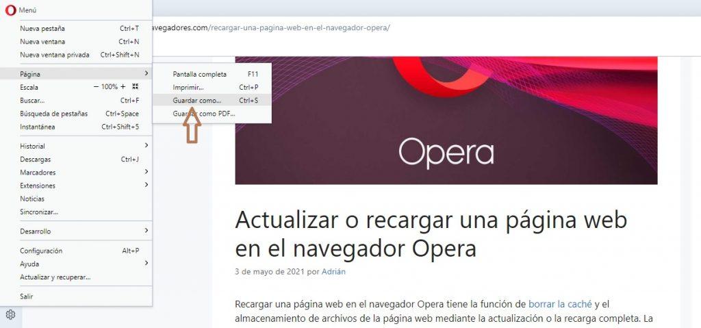 descargar páginas para acceder sin conexión en el navegador Opera